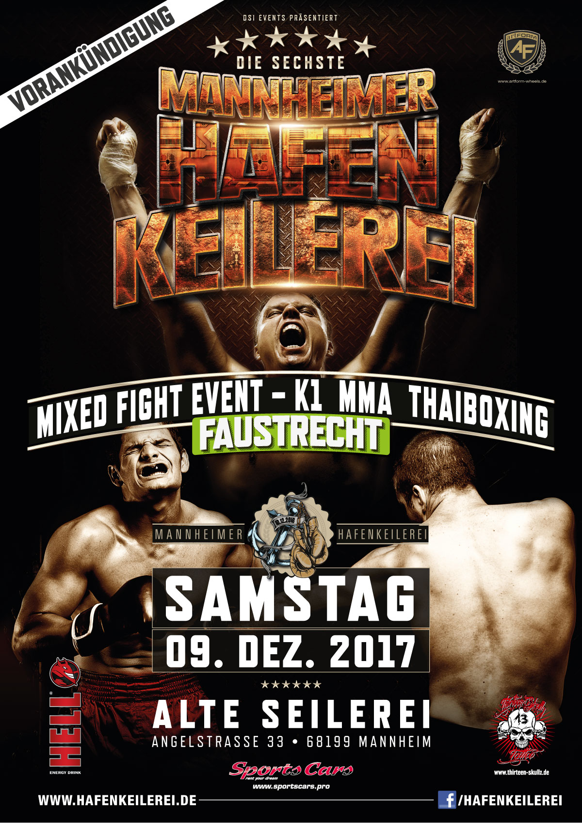 Mannheimer Hafenkeilerei Mixed Fight Event in der alten Seilerei Mannheim Flyer